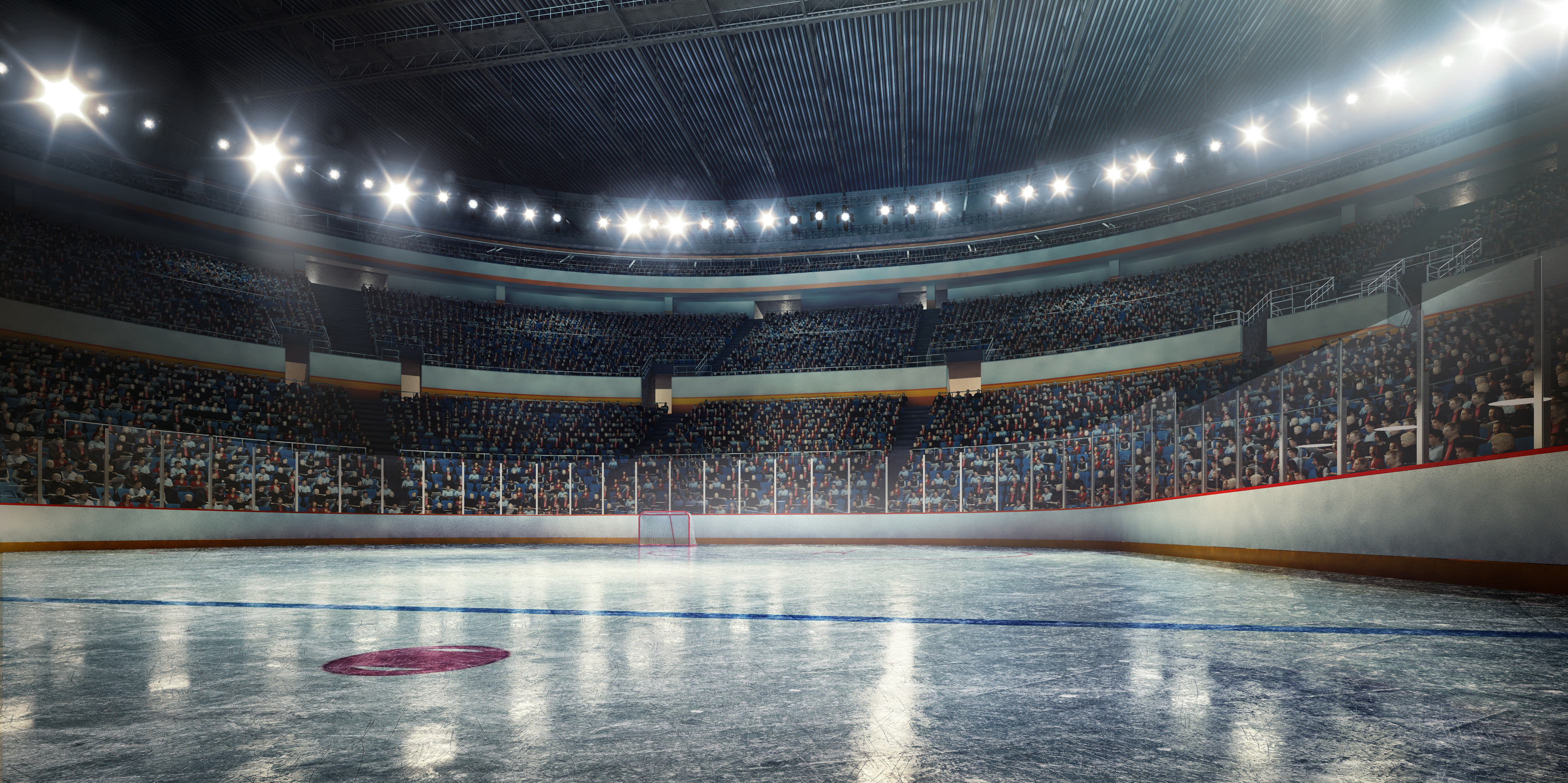 Made in 3D professional hockey stadium arena in indoors stadium full of spectators
